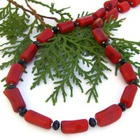 Red Coral Black Onyx Handmade Necklace Unique OOAK Beaded Jewelry