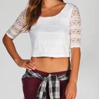 Full Tilt 3/4 Sleeve Womens Lace Crop Top White  In Sizes
