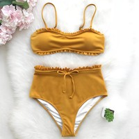 Bright Sunshine High-waisted Bikini Set (Mustard)