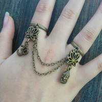 brass lotus ring  double ring  yoga statement ring ohm buddha slave ring goddess new age belly dance gypsy hippie morrocan boho and hipster