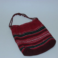 Bulgarian Shepherd Souvenir Bag, Colorful Bag, Handmade Bag, Souvenir Bag, Ot 19th Century, Made of Red Cloth Embroidered by Hand