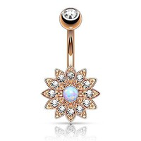 BodyJ4You Belly Button Ring Jeweled Created-Opal Flower Rose Goldtone Body Piercing Jewelry