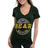 Baylor Bears Ladies Born and Bred Melange V-Neck T-Shirt - Green