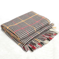 Multi Color Plaid Fringed Scarf