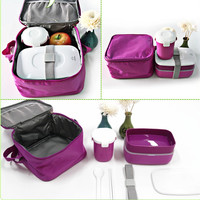 High Quality Japanese Bento Lunch Box w/ Water Soup Mug & Insulated Lunch Tote Bag