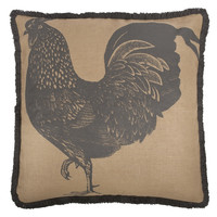 """Rooster 26"""" Jute Pillow in Charcoal design by Thomas Paul"""