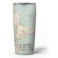 The Vintage Map of Cape Cod - Skin Decal Vinyl Wrap Kit compatible with the Yeti Rambler Cooler Tumbler Cups