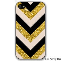Black, Creme and and Gold Glitter Chevron iPhone 4, 5, 5C, 6 and 6 plus and Samsung Galaxy s3, s4, and s5 Phone Case