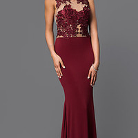 Floor Length High Neck Dress with Lace Bodice