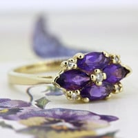 Vintage Amethyst Ring | Dainty Cluster Ring | Alternative Engagement Ring | 14k Yellow Gold Gemstone Ring | Flower Cocktail Ring |Size 5.75