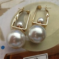 Double Pearls Dangle Earrings for Women