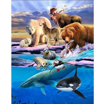 5D Diamond Painting Animals of the Land and Sea Kit