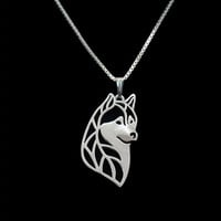 Hot Sale Siberian Husky Head Necklace 3D Hollow Animal Lover Pendant Memorial Necklaces Christmas Gift For Women Friend