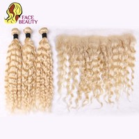 Facebeauty Blonde 613 Remy Human Hair Brazilian Deep Wave Bundles with Lace Frontal Closure 13*4 Free Middle Part Russian Hair