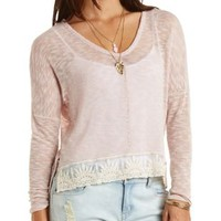 Embroidered Mesh Trim High-Low Top by Charlotte Russe