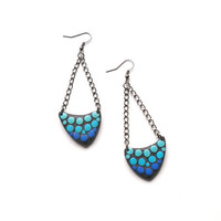 Polymer clay asymmetrical fashion earrings blue bubbles arrow shaped geometrical dangle earrings