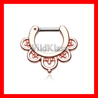 Rose Gold 16g Septum Clicker 14g Imperial Filigree Septum Ring Earring Cartilage Piercing Tragus Ring Helix Conch Nose Belly Nipple