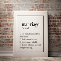 Printable Wall Art Marriage dictionary definition wedding anniversary bridal shower gift name definition funny wall art INSTANT DOWNLOAD