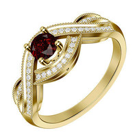 1.20CTW DASHING RED RUBY ROUND STUD SOLITAIRE 925 STERLING SILVER RING FOR HER