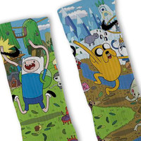 Adventure Time Finn + Jake Custom Nike Elite Socks