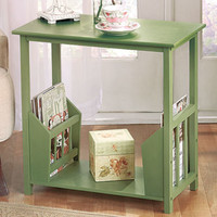 Sage Color End Table with Double Magazine Rack Living Room Furniture Home Decor