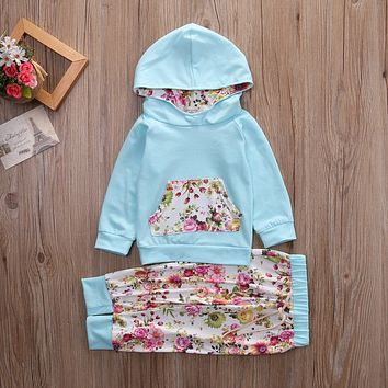 Newborn Baby Girls Boys Floral Tracksuit Top Hoodie  Pants Outfits Clothes Set