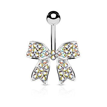 Crystal Paved Ribbon 316L Surgical Steel WildKlass Belly Button Navel Rings