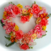 "Cemetery Floral Heart Shaped Memorial Remembrance Wreath - ""Always"", Cemetery Flowers, Summer floral, Yellow, Pink  and Peach floral wreath"