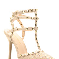 Natural Faux Suede Embellished Pointed Toe Single Sole Heels