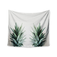 "Chelsea Victoria ""Two Pineapples"" Green Gold Wall Tapestry"
