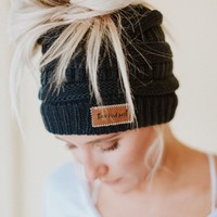 Messy Bun Knitted Beanie - Navy