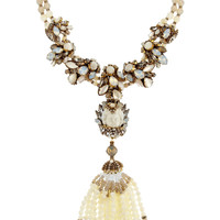 Erickson Beamon - Weeping Angel gold-plated, bead and crystal tassel necklace