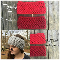 Ear Warmer - Crochet Ear Warmer - Ready To Ship - Cranberry or Red Ear Warmer  - Women's Accessories - Stocking Stuffers - Gifts For Her