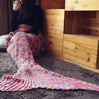 Knitted Multicolor Mermaid Tail Wool Blanket Handmade Crochet Mermaid Blanket Kids Throw Bed Wrap Super Soft Sleeping Bed(180*90CM) [9595947343]