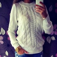 Long Sleeve Loose Cable Knit Sweater