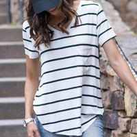 Perfect Tshirt in White With Black Stripes