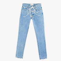 Lace Up High Rise Vintage Stone Jeans