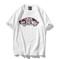 Vans Fashion New Summer Letter Car Print Women Men Leisure Top T-Shirt White