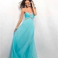 Aqua Rhinestone Embellished Chiffon Strapless Sweetheart Empire Waist Prom Gown - Unique Vintage - Cocktail, Pinup, Holiday & Prom Dresses.