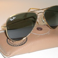 52MM SMALLEST B&L RAY BAN W1878 WYAS G15 ARISTA GOLD PLATED AVIATOR SUNGLASSES