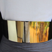 "Wide Gold Metal Plate Fashion Belt Black Elastic 27""-40"" Small Medium Accessories"