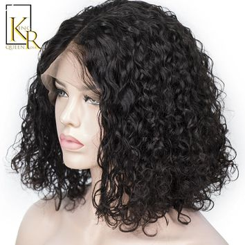 150% Density Curly Lace Front Human Hair Wigs For Women 13x5 Short Bob Wigs With Natural Black Brazilian Remy King Rosa Queen