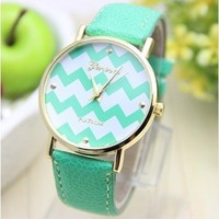 Viliysun-New Platinum Brand Stripes Fashion Leather GENEVA Watch For Ladies Women Dress Quartz Watch (Mint Green-1)