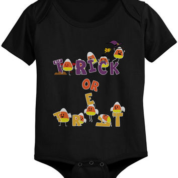 Trick or Treat Cute Candy Corn Baby Snap On One Piece Infant Black Onesuits for Halloween