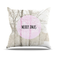 "Iris Lehnhardt ""Merry Xmas"" Holiday Outdoor Throw Pillow"