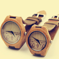 YAN & LEI Bamboo Watch with Leather Belt Rhombus Prints