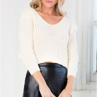 Pack Up Cropped Knit in Beige