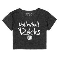 Volleyball Crop Top Volleyball Rocks-Female Heather Onyx T-Shirt