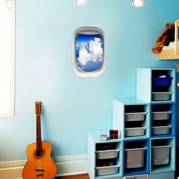 Airplane Window Cloud View Peel and Stick Vinyl Wall Decal - PW26