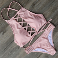 Pink Top Bandage Bikini Set 2 Pieces Swimsuit